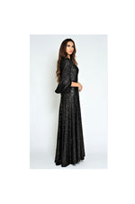 LAMACE Black Sequin Gown with Silk Velvet Sleeves