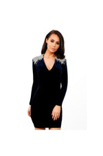 LAMACE Blue Silk Velvet Crystal Embellished Mini Dress