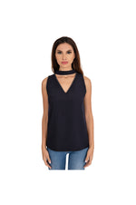 LAMACE Blue Tie Neck Top with Silver Crystal Embellishments