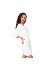 LAMACE Cream Crepe Day Dress with Belt Tie Waist