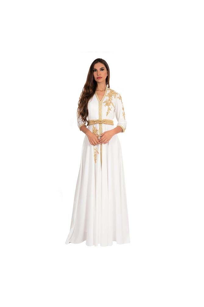 LAMACE White Arabic Traditional Kaftan with Gold Embroidery and Embellishments
