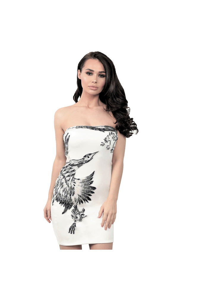 LAMACE White Silk Jersey Mini Dress with Crystal and Beaded Bird Embellishment