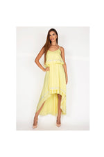 LAMACE Yellow High Low Day Dress with Embroidery