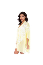 LAMACE Yellow Kaftan with White Floral Embroidery