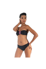 LAMACE Black Bikini with Pink Crystal and Bead Embellishment
