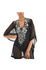 LAMACE Black Kaftan with Silver sequin, crystal and bead floral embellishment