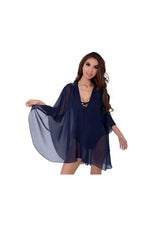 Blue Beach Kaftan with Blue Sequin and Bead Floral Embellishments