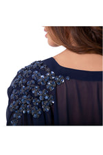 LAMACE Blue Beach Kaftan with Blue Sequin and Bead Floral Embellishments
