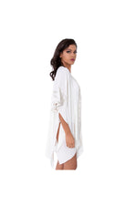 LAMACE Cream Kaftan with Silver Floral Embellishment