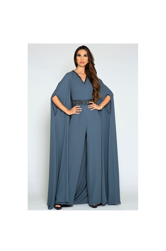 LAMACE Grey Cape Jumpsuit with Crystal Embellishments
