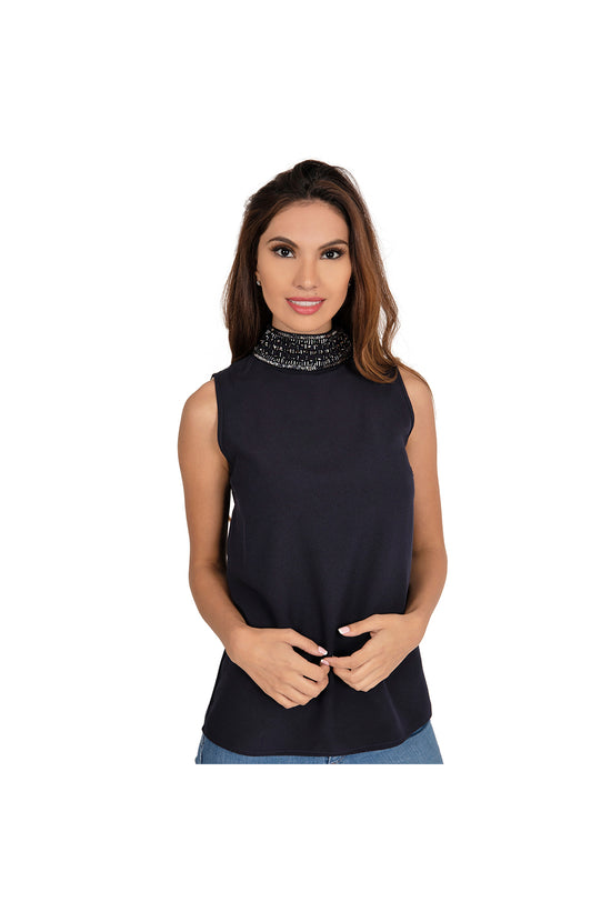 LAMACE Blue Turtleneck Top with Crystal and Bead Embellished Neck