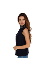 AMACE Blue Turtleneck Top with Crystal and Bead Embellished Neck
