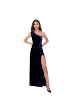 LAMACE Blue Silk Velvet Gown with Embellishments