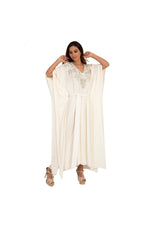 Long Cream Kaftan with Silver Floral Embroidery and Crystals