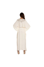 LAMACE Long Cream Kaftan with Silver Embroidery and Crystals