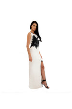 LAMACE White Silk Gown with Black Crystal and Bead Embellishments