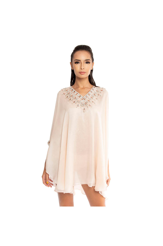 Peach Kaftan with Crystal and Bead Embellishment