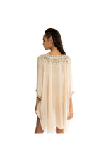 LAMACE Peach Kaftan with Crystal and Bead Embellishment