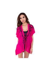 LAMACE Pink Beach Kaftan with Black Sequin and Bead Floral Embellishment