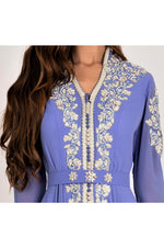 LAMACE Purple Arabic Traditional Kaftan Dress with Silver Embroidery and Embellishments