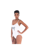 LAMACE White Swimsuit with Blue Bird Logo Embellishment