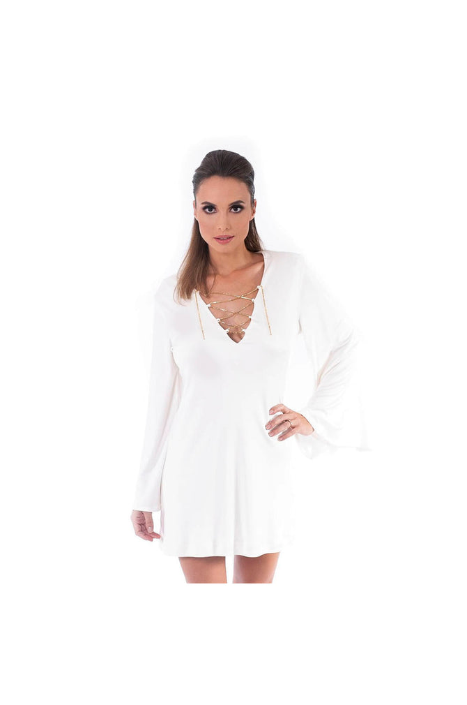 LAMACE White Silk Jersey Day Dress with Gold Chain