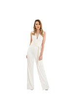 White Silk Jersey Jumpsuit