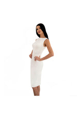 LAMACE White Silk Jersey Midi Dress