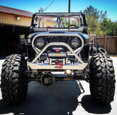 "Jeep CJ-7 on 43"" SX Swampers and 1 ton axles"