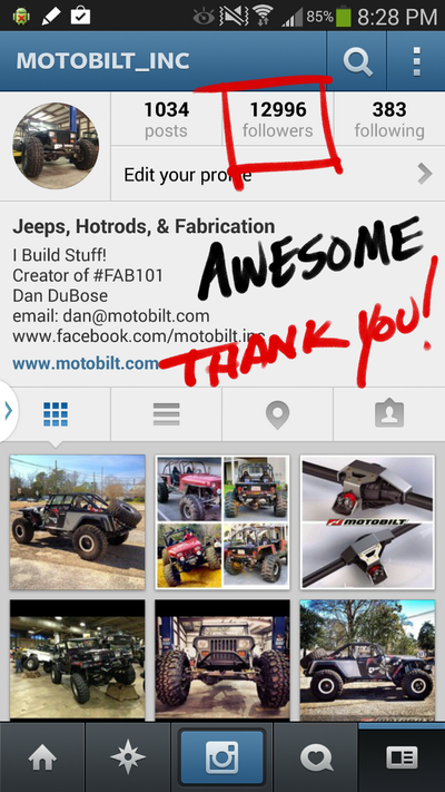 Motobilt on Instagram turned 13000
