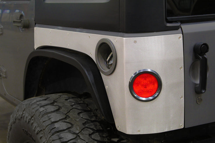 Steel Rear Corner Armor w/ Round Tail Light Holes for Jeep JKU - Motobilt