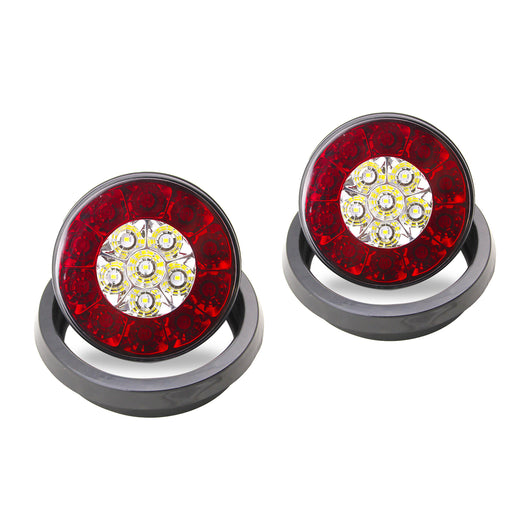 4'' Inch Round LED Multi-Purpose Tail Lights w/ Rubber Grommets - Motobilt
