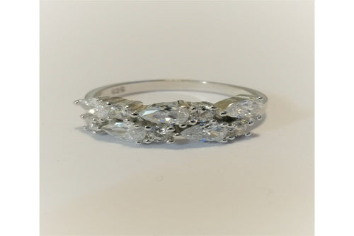 Pear Shaped Stone Sterling Silver Eternity Ring