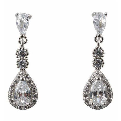 Sterling Silver Flower and Clear Cubic Zirconia Drop Earrings
