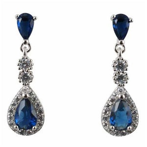 Sterling Silver and Sapphire Drop Earrings