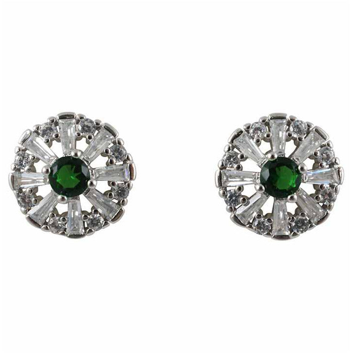 Clear and Emerald Flower Studs