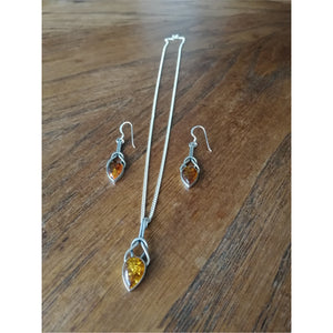 Sterling Silver and Amber Necklace and Earring Set