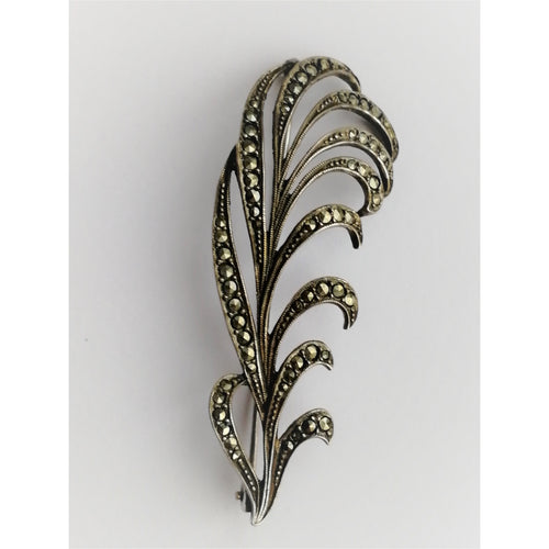 Vintage Marcasite Feather Brooch