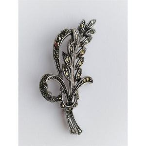Vintage Marcasite Leaf and Bow Brooch