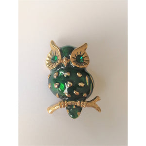 Green and Gold Vintage Owl Brooch