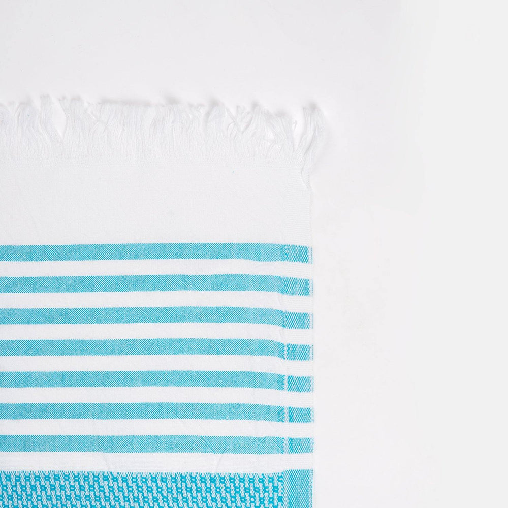 Load image into Gallery viewer, Coast - Turquoise & White Hammam Towel