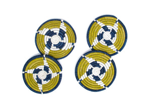 Fair Trade Yellow & Blue Coasters (set of 4)