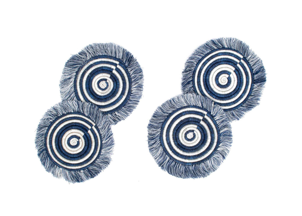 Midnight Blue Fringed Coasters (set of 4)