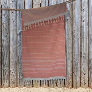 Gemini Double Sided Hammam Towel (Terry Pile) - Coral