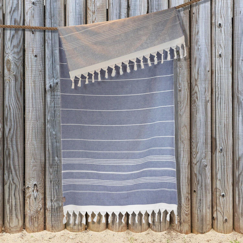 Gemini - Double Sided Hammam Towel (Terry Pile) - Denim Blue
