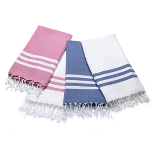 Load image into Gallery viewer, Summer Fun - White And Denim Organic Cotton Beach Towel Towels