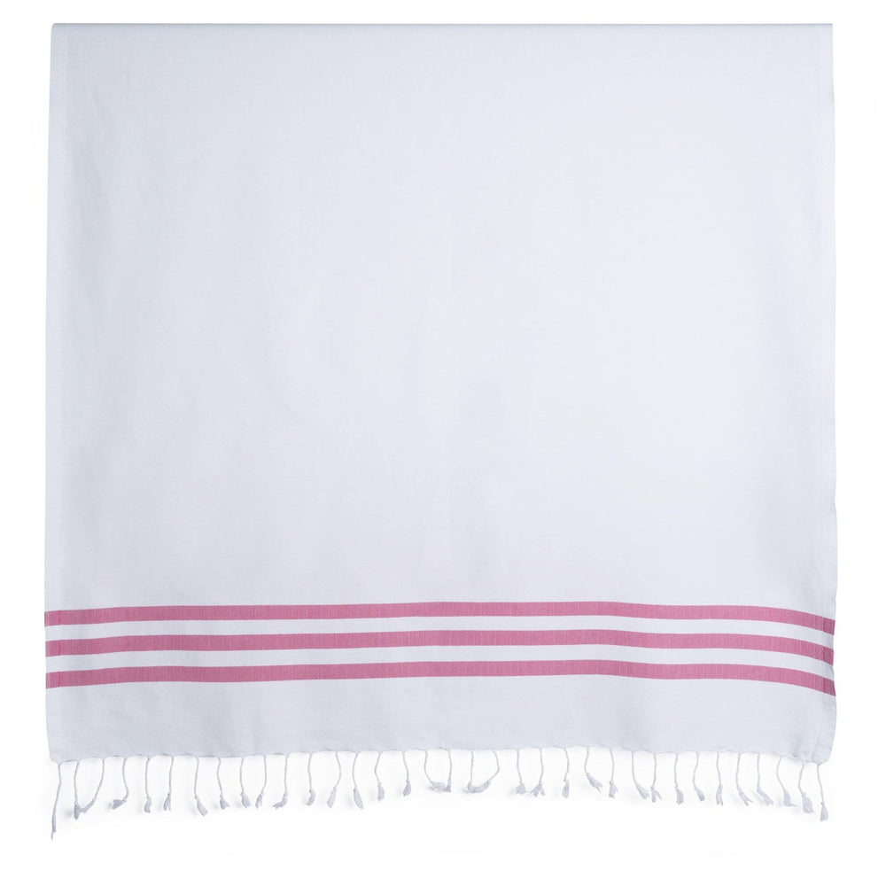 Summer Fun - White and Flamingo Organic Cotton Beach Towel