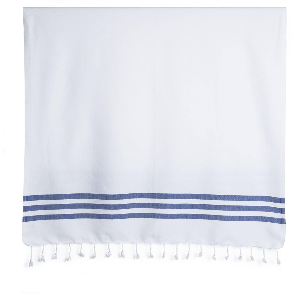 Summer Fun - White and Denim Organic Cotton Beach Towel