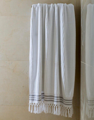 Classic Stripe - Arctic White Organic Cotton Towel Collection