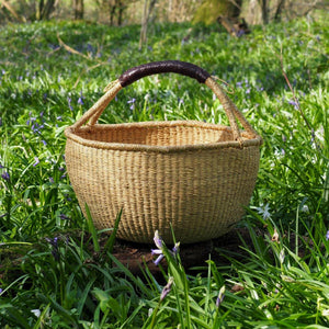 Load image into Gallery viewer, Bolga Basket - Natural with Leather Handle